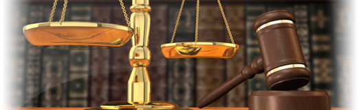 Expert witness courtroom scales of justice and gavel